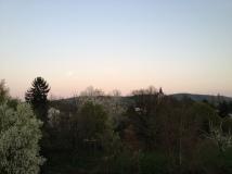 Sonnenuntergang mit Vollmond ...