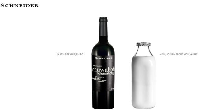 Milch oder Vinum - so öffnet sich die Home Page von Markus Schneider - Ich muss schmunzeln