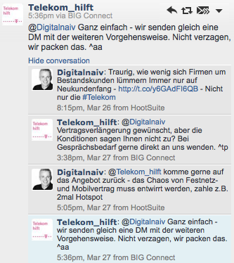 Der Twitter Dialog mit @telekom_hilft